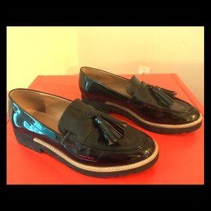 Franco Sarto patent tassel loafers